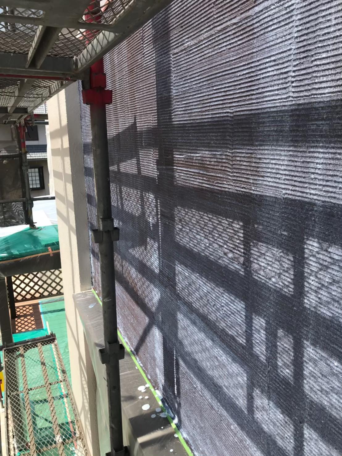 福岡市南区:アクセント部分 下塗り完了