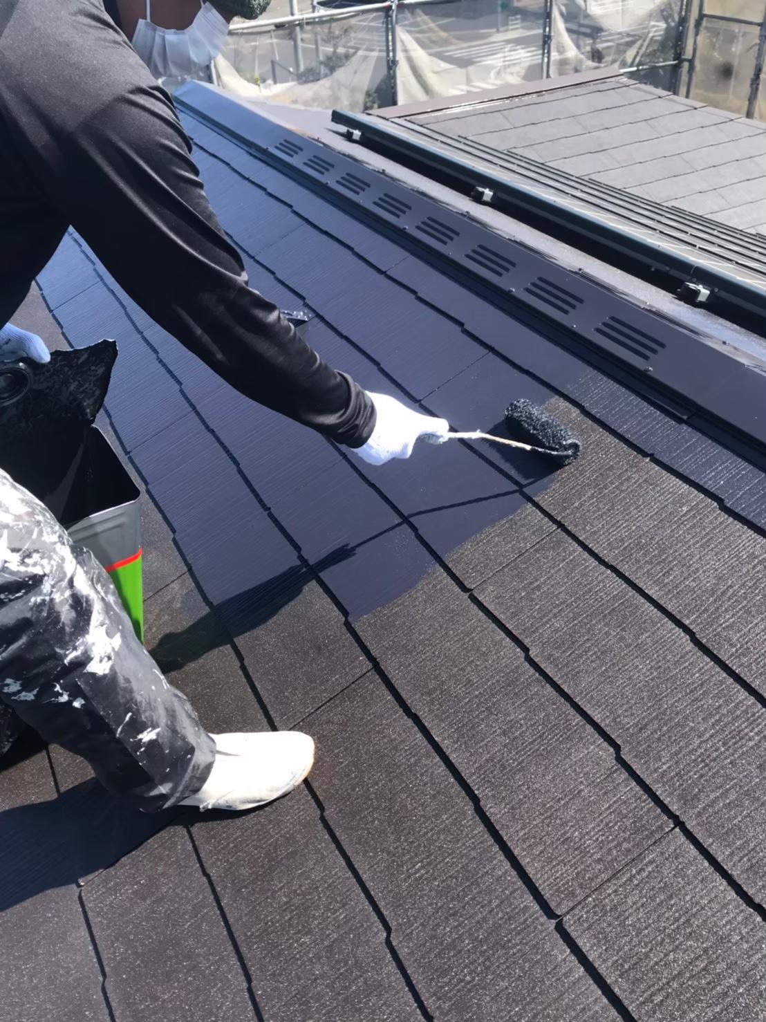 福岡市南区:屋根中塗り 写真1