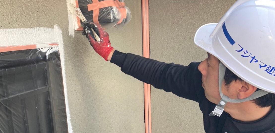 飯塚市 外壁中塗りと屋根ヒビ割れ補修