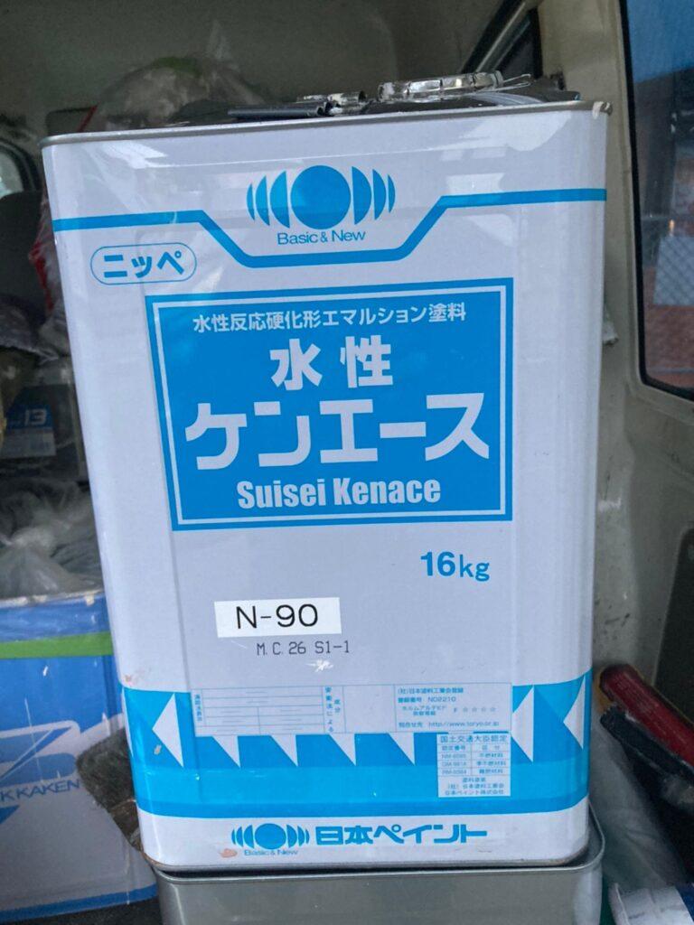 水性ケンエース:飯塚市 軒天塗装と外壁塗装(中塗り) 写真1
