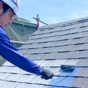 飯塚市 屋根の中塗り・縁切り・上塗り