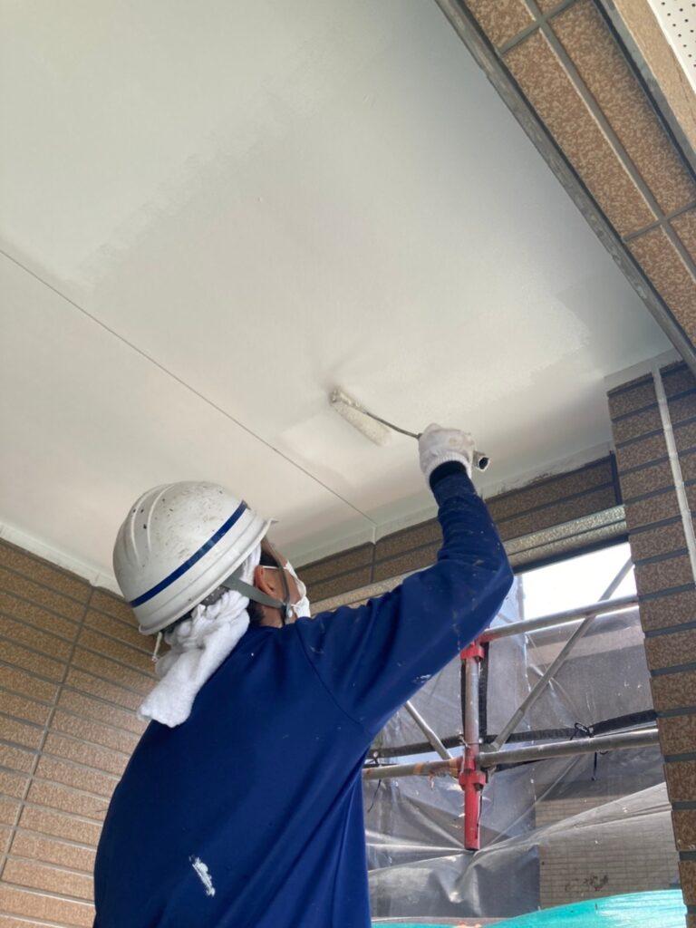 福岡市東区 外壁塗装(下塗り) 軒天塗装 写真11