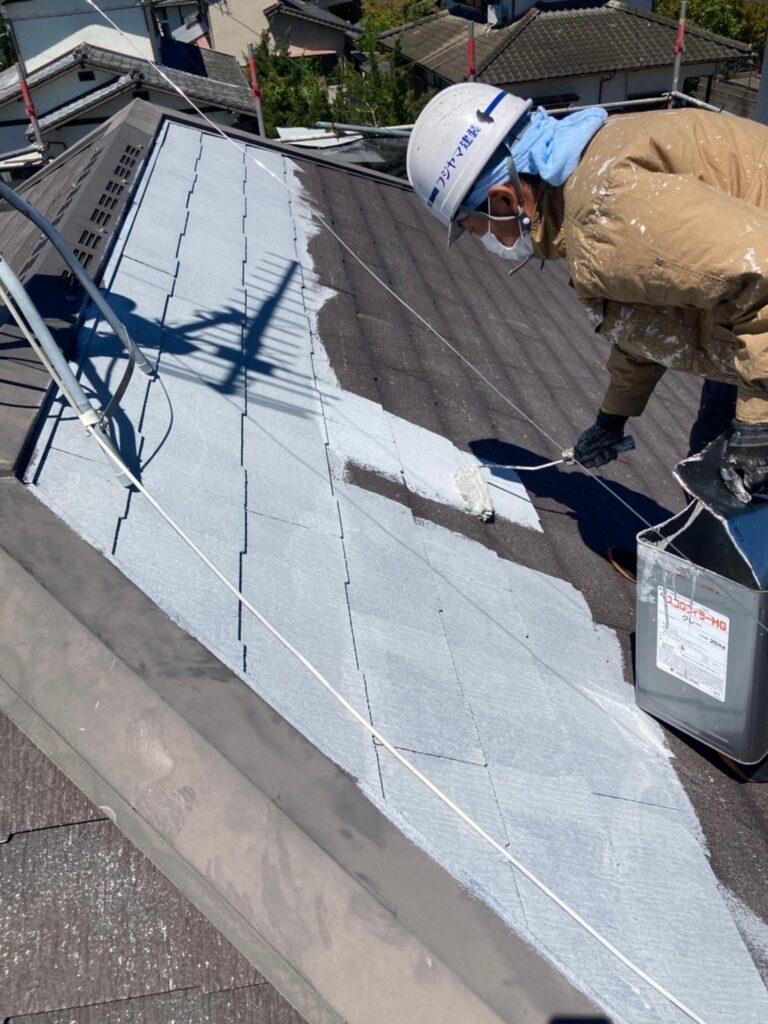小郡市 屋根塗装(下塗り) 付帯塗装 写真2