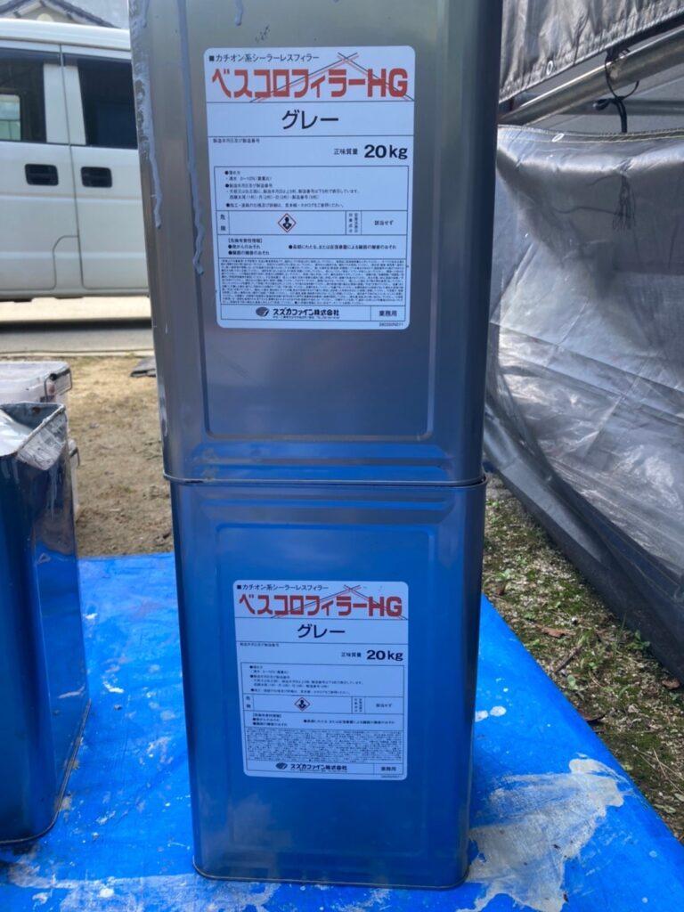ベスコロフィラーHG:三養基郡 破風コーキング補修 屋根塗装(下塗り) 写真7