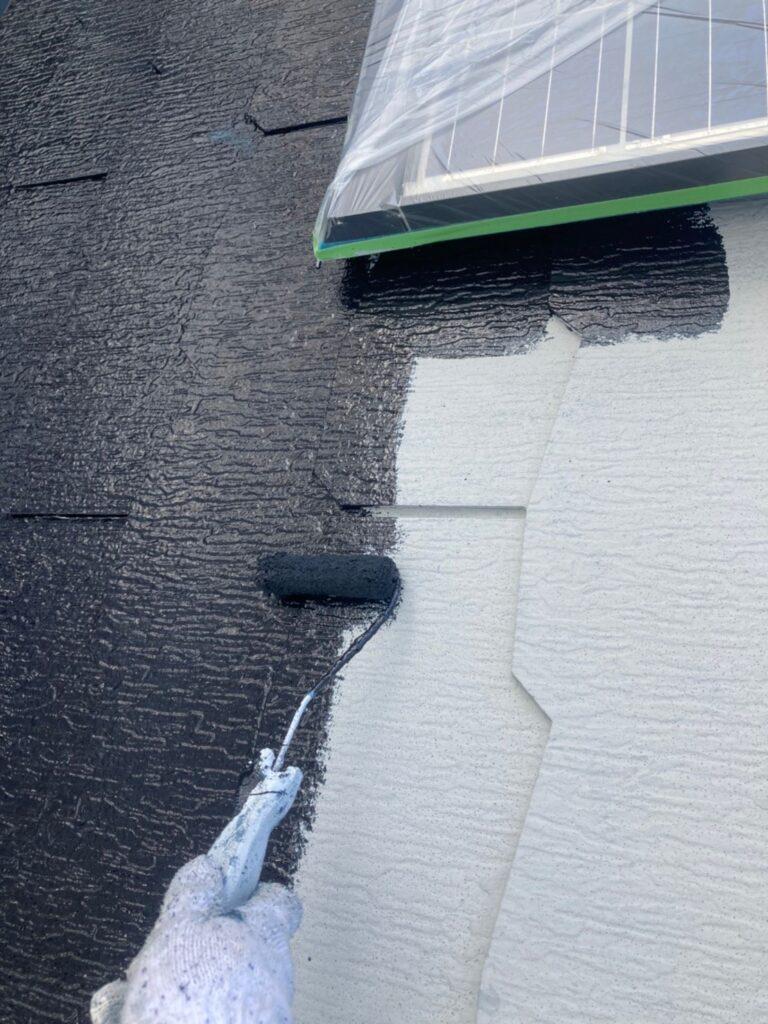 三養基郡 屋根塗装(中塗り) 付帯塗装 写真2