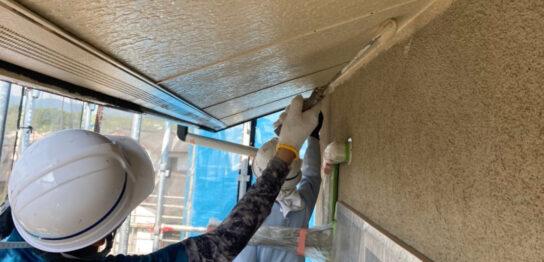 福岡県小郡市 外壁塗装(下塗り) 軒天塗装